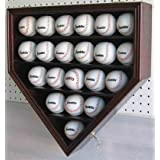 21 MLB Baseball Display Case Cabinet Holder, w/ 98%UV Protection, Locks-CHERRY Finish