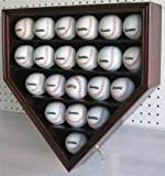 21 MLB Baseball Display Case Cabinet Holder, w/UV Protection, Lockable-CHERRY Finish