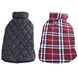 REXSONN Pet Dog cats Cozy Waterproof Windproof Jacket Winter Warm Apparel Grid Plaid Reversible Coat Coats for small Puppy medium large dogs