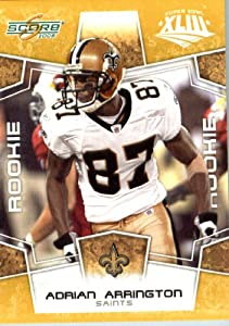2008 Score SuperBowl Gold NFL Football Card - (Limited to 800 Made) # 427 Adrian Arrington (RC - Rookie Card) WR - New Orleans Saints
