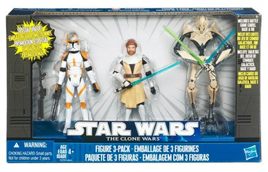 Star Wars Clone Wars 3 Figure Pack - Obi-Wan Kenobi / Clone Commander Cody / General Grievous