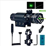 WNOSH Adjustable Shockproof 532nm Tactical Green Dot Laser Sight Rifle Gun Scope w/ Rail & Barrel Mount Cap Pressure Switch Battery Charger Include
