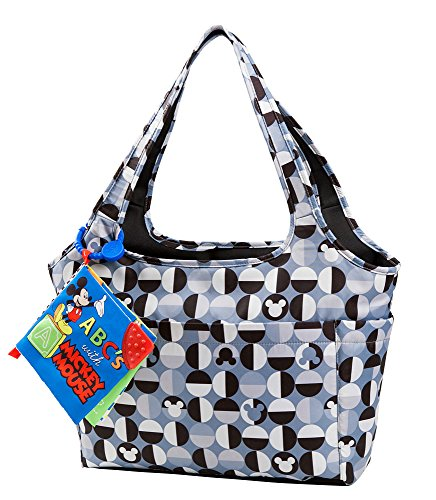 Disney Mickey Mouse Large Tote with Crinkle Toy Book, Gray - 1