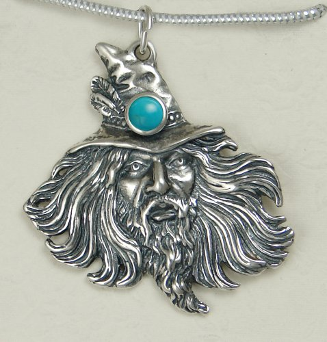 Sterling Silver Wizard by Fantasy Artist Julie Guthrie Accented with Genuine Turquoise...Amazing Detail!