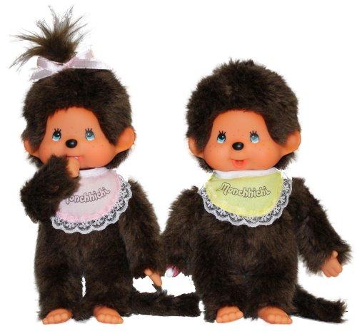 Imagen 3 de Monchhichi 251360 - Edición especial de 35 años, muñeco de chica y chico [importado de Alemania]