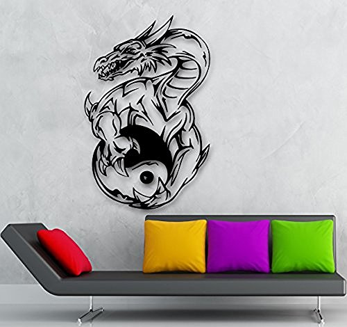 GGWW Wall Sticker Vinyl Decal Yin Yang Dragon Fantasy Mascot Cool Decor (Ig1938)