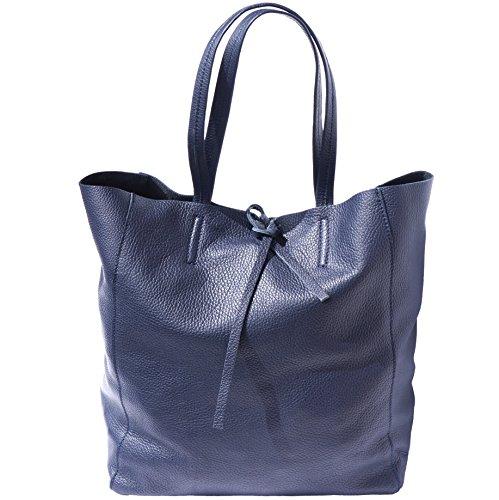 SHOPPING BAG CON LACCETTO IN PELLE 9121 (Blu scuro)