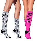 Victorias Secret PINK! Knee High Sock 2 Pairs Pink/Gray