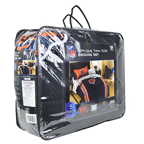 Officially Licensed Nfl Twin Bed Applique Comforter And Bedding Set - Chicago Bears