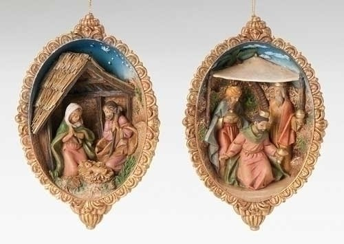 6 Fontanini Medallion Style Holy Family & Three Kings Christmas Ornament Sets 6″