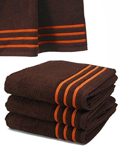 Serviette De Toilette 50x100 cm 100% Coton - 550 grS/m2 Chocolat Avec Liserets Orange
