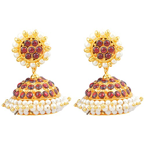 Gold finish red kempu stones JIMIKI\/ Jhumki (multicolor)