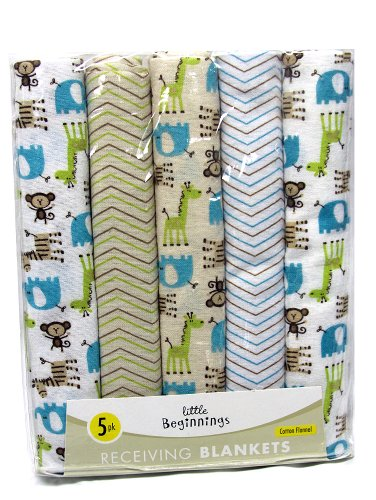 Zoo Animals Monkey Zebra Elephant Giraffe 5 pack Baby Receiving Blankets - 1