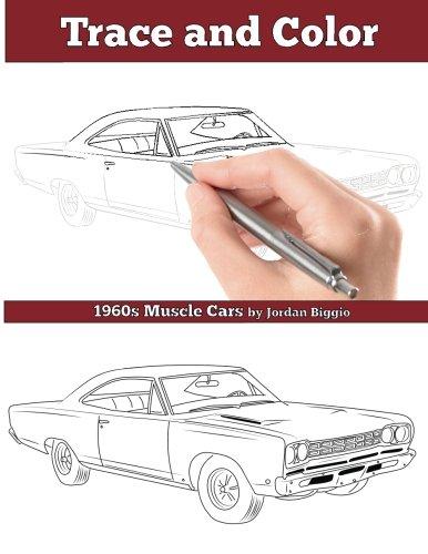 Trace and Color 1960s Muscle Cars Adult Activity Book [Biggio, Jordan] (Tapa Blanda)