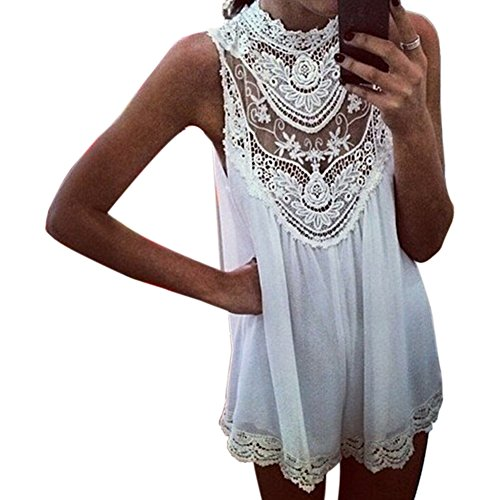 Icibgoods White Crochet Hollow Out Sexy Sleeveless Lace Flower Mini Dress L