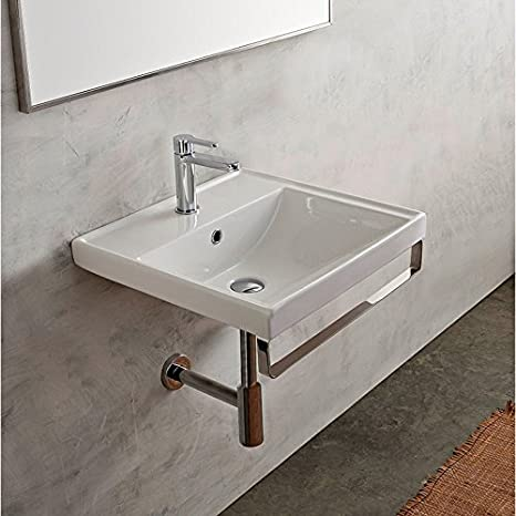 16 Inch White Ceramic Bathroom Sink, Three Hole