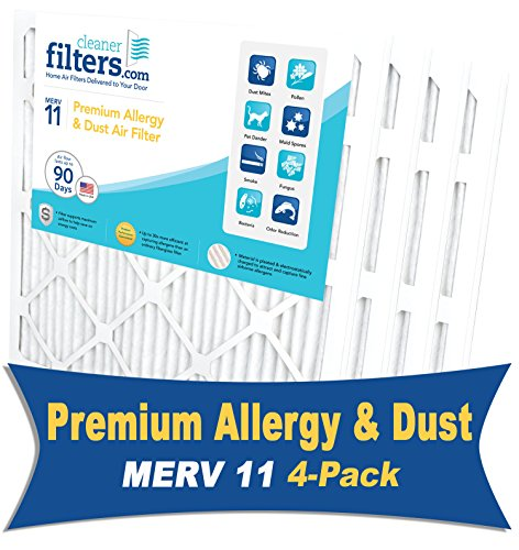Cleaner Filters 16x24x1 Air Filter, Pleated High Efficiency Allergy Furnace Filters for Home or Office with MERV 11 Rating (4 Pack)