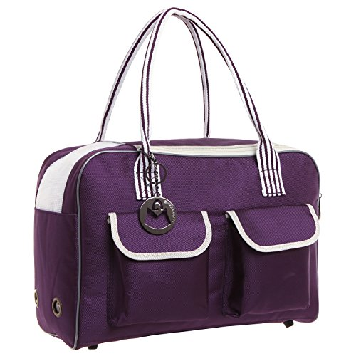 MG Collection Purple Cat / Dog Designer Inspired Soft Sided Nylon Pet Carrier Travel Tote Hand Bag