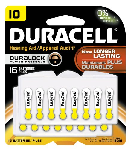 Duracell Da10B16Zm10 Easy Tab Hearing Aid Zinc Air Battery, 10 Size, 1.4V, 95 Mah Capacity (Pack Of 16)