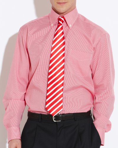 Savile Row Men's White Red Check Buttondown Collar Classic Fit Formal Shirt Neck Size 15