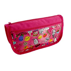 Paperchase Pink Zipped Pencil Case. Food Friends Design