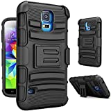 S5 Case,Samsung Galaxy S5 Belt Clip Ultra Protection Case Shockproof Drop Proof Heavy Duty Rugged Soft Silicone Dual Layer Combo Holster Cover Case with Kickstand and Locking Belt Swivel Clip for Samsung Galaxy S5 i9600 SV GS5 BLACK