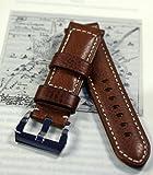 Uhrenarmband 'VIENNA CUT', PAM-Style Lederarmband passend für Panerai, PARNIS und andere, umbugtes 24mm Kalbsleder, Buffalo-Grain, geschraubte Stahlschließe, komplett von Hand gearbeitet