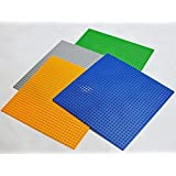 "4 Pcs Brick Building Base Plate Secret Life Large Multi Color 10""X10"" Plaste , Fit Lego Tight (Green,Grey,Blue..."