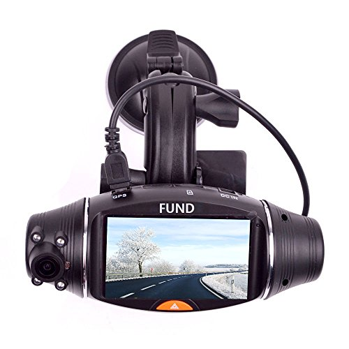 FunD Dual Camera Lens HD Car DVR Vehicle Black Box with GPS and G-sensor, Rotating (Car Black Box Dual Camera compare prices)