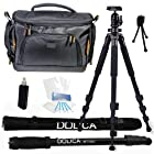 Dolica AX620B100 62-Inch Proline Tripod and Ball Head + Dolica WT-1003 67-Inch Lightweight Monopod + Vidpro TL-60 Deluxe Digital DSLR Camera Case Bag Everything You Need Combo Kit for Nikon D610 D7100 DF