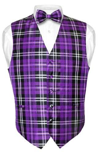 Men'S Plaid Design Dress Vest Bowtie Purple Black White Bow Tie Set Xlarge