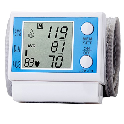 Professional Wrist Type Home Automatic Digital Blood Pressure Monitor Electronic Sphygmomanometer Irregular Heartbeat Detector Large LCD display Automatic Shut Down Function