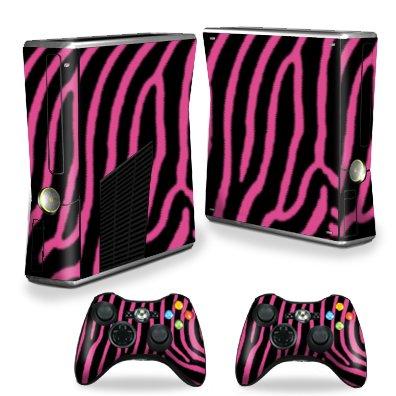 Protective Vinyl Skin Decal Cover for Microsoft Xbox 360 S Slim + 2 Controller Skins Sticker Skins Zebra Pink
