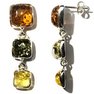 Sterling Silver Multi-Color Amber Drop Earrings