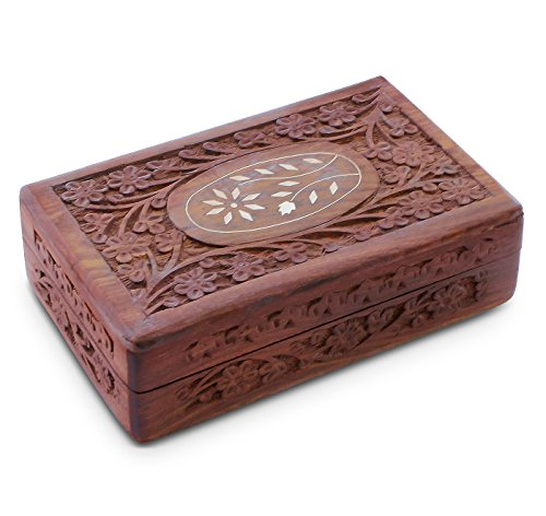 Handcrafted Wooden Jewelry Box with Lid - Handcrafted Wood Chest Vintage Look (8 x 5