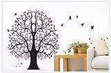 Asmi collection PVC Wall Stickers Wall Decals Big Purple Tree Birds