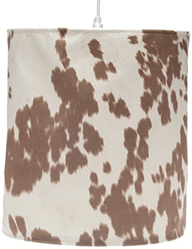 Sweet Potato Happy Trails Hanging Drum Shade, Tan Cow Spot/Brown