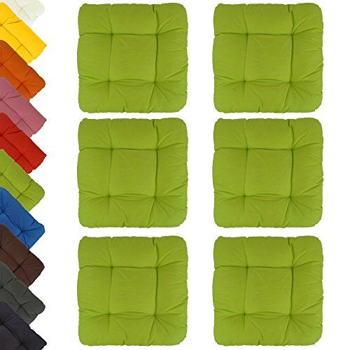 6er-Set-Sitzkissen-Stuhlkissen-Dekokissen-Capri-sehr-bequem-unifarben-40x40x8cm-hellgrn