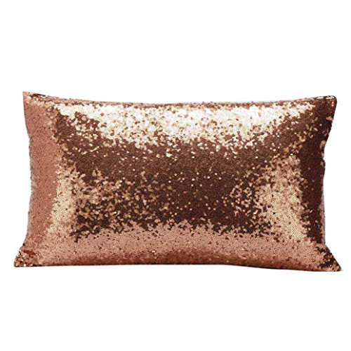 Gbsell Pillow Cover Glitter Sequins Rectangle Throw Pillow Case