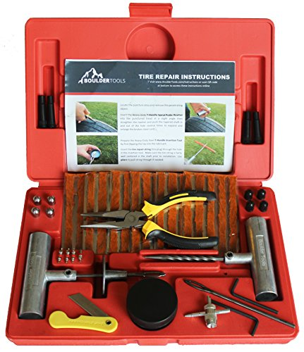 Boulder Tools Heavy Duty Tire Repair Kit - 56 Pc Set For Motorcycle, ATV, Jeep, Truck, Tractor Flat Tire Puncture Repair (Car Tire Repair compare prices)