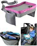 Kids Travel Play Tray Bag- Childrens Car Seat Buggy Pushchair Lap Tray (Pink)