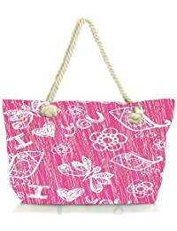 Snoogg I Love You Pink Pattern Women Anchor Messenger Handbag Shoulder Bag Lady Tote Beach Bags Blue
