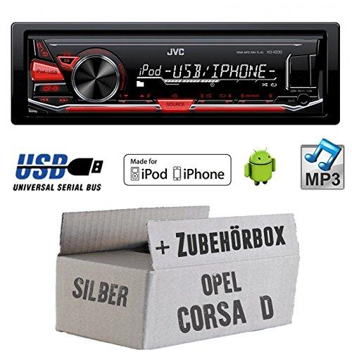 OPEL CORSA D Argent-JVC KD X230E-Kit de montage autoradio USB Lecteur MP3-
