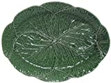 Portuguese Majolica Green Ceramic Cabbage Leaf Large Oval Platter, 17