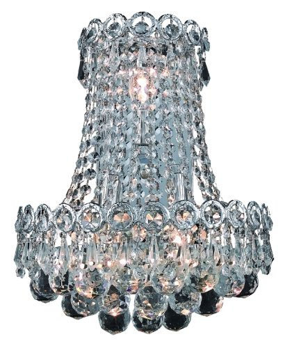 Elegant Lighting 1901W12Sc/Rc Century 17-Inch High 3-Light Wall Sconce, Chrome Finish With Crystal (Clear) Royal Cut Rc Crystal front-965412