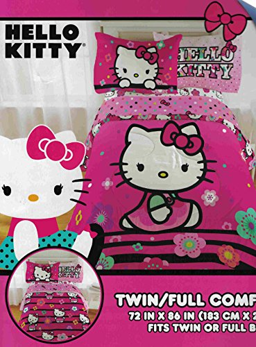 Hello-Kitty-Floral-Dots-4-Piece-Twin-Comforter-and-Sheet-Set-Bedding-Collection-with-Bonus-Sticker-Sheet