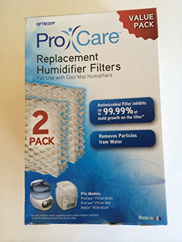 Pro Care Replacement Humidifier Filter OFT813VP 2 Pack For Use With Cool Mist Humidifiers Fits Models: ProCare PCCM-832N, PCCM-840 & Relion RCM-832N, Robitussin, Duracraft, Sesame Street & Many More (