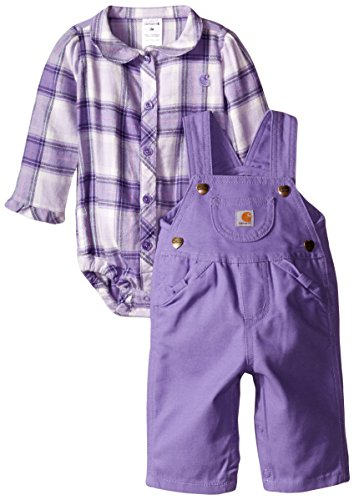 Carhartt Baby Girls Plaid Overall Set Purple 24 Months