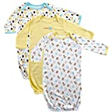 Luvable Friends 3-Pack Rib Knit Infant Gowns, Yellow, 0-6 months