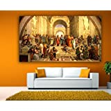 Painting || Paintings || Canvas Painting - The School Of Athens - Classic Art - Renaissance Art || Painting For Living Room || Painting For Bedroom (Length 8 Inches X Width 14 Inches)